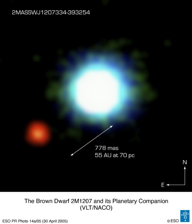 Picture, image of the exoplanet 2M 1207b